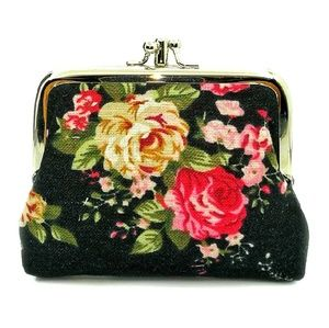 FLORAL Coin Purse Textured Fabric Victorian Design